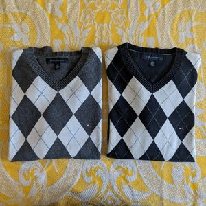 Tommy Hilfiger v neck sweaters Blue + Grey Argyle